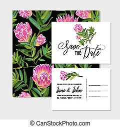 Wedding Invitation Template Set with Pink Protea Flowers. Save the Date Floral Card for Greetings, Anniversary, Birthday, Baby Shower Party. Botanical Design. Vector illustration