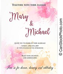 Wedding invitation template with abstract flowers.