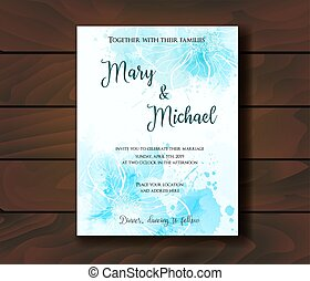 Wedding invitation template with abstract flowers