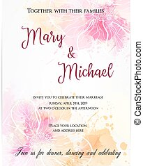 Wedding invitation template with abstract flowers. Vector illustration.
