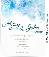 Wedding invitation template with abstract roses