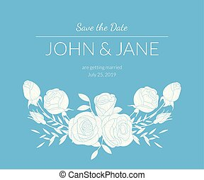 Wedding Invitation Template with Bouquet Of Flowers and Text, Light Blue Card with Floral Elements Vector Illustration