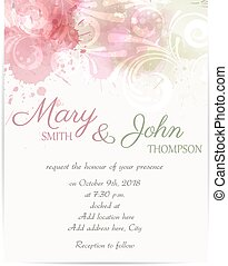 Wedding invitation template with abstract florals elements