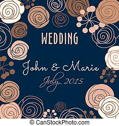Wedding invitation template with floral elements