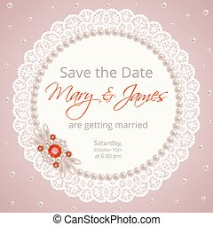 Wedding invitation template with lace frame and pearl brooch