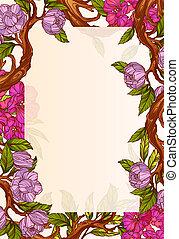 Wedding invitation template with magnolia flowers