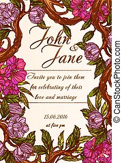 Wedding invitation template with magnolia flowers