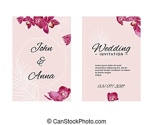 Wedding invitation template with orchids and white sketch elements. Vector pink illustration.