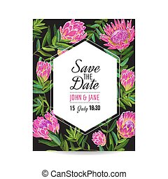 Wedding Invitation Template with Pink Protea Flowers. Save the Date Floral Card for Greetings, Anniversary, Birthday, Baby Shower Party. Botanical Design. Vector illustration