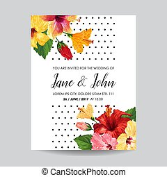 Wedding Invitation Template with Red Hibiscus Flowers. Save the Date Floral Card for Greetings, Anniversary, Birthday, Baby Shower Party. Botanical Design. Vector illustration