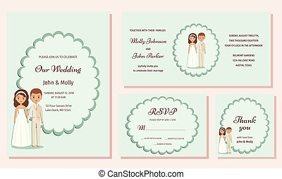 Wedding invitation templates. Greeting cards. Vector illustration.