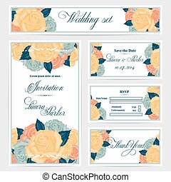 Wedding invitation, thank you card, save the date cards. . RSVP card