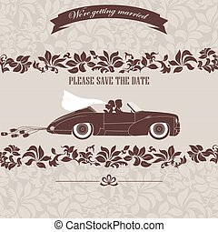 Wedding invitation, the bride and groom in car