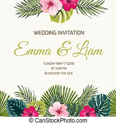 Wedding invitation tropic leaves hibiscus greenery