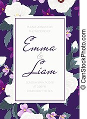 Wedding invitation tropical purple violet flowers