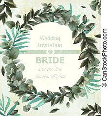 Wedding invitation Vector frame. beautiful round wreath with green leaves