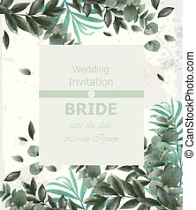 Wedding invitation Vector frame. beautiful round wreath with green leaves decors