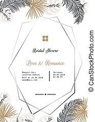 Wedding invitation vector template design.