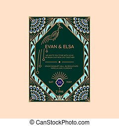 Wedding invitation vector template with peacock icon.