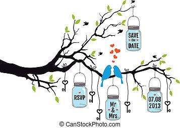 wedding invitation, vector - Save the date, wedding...