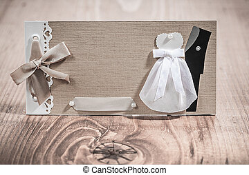 wedding invitation vintage card on wood