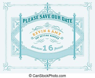 Wedding invitation vintage card with forged metal elements