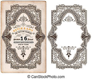 Wedding invitation vintage card with forged metal elements separated by layers