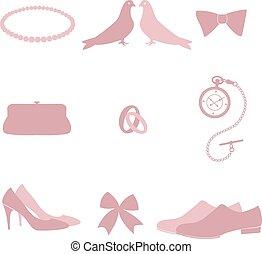 Wedding invitation vintage design elements.