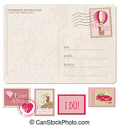 Wedding Invitation - Vintage Postcard with Postage Stamps - for design and scrapbook - in vector