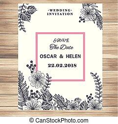 Wedding Invitation Vintage White Flowers Vanilla Background Vector Image