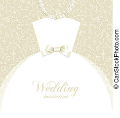 Wedding background with bridal dress silhouette and decorative elements