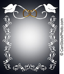 Wedding Invitation white doves - 3D Illustration for Wedding...