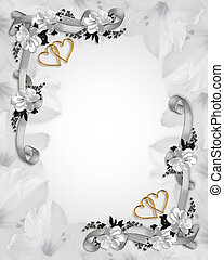 Wedding invitation white magnolias
