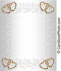 Wedding Invitation White Satin Gold - 3D Illustrated Gold...