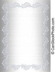 Wedding invitation white satin lace