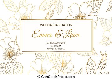 Wedding invitation wild rose luxury shiny golden