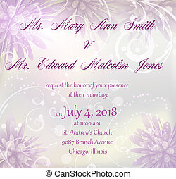 Wedding invitation with abstract flowers background