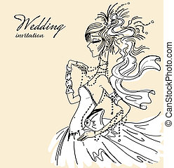 Wedding invitation with beautiful bride