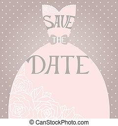 Wedding invitation with beautiful elegant wedding dress