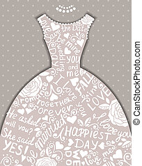Wedding invitation with beautiful elegant wedding dress.