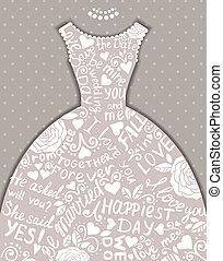 Wedding invitation with beautiful elegant wedding dress.