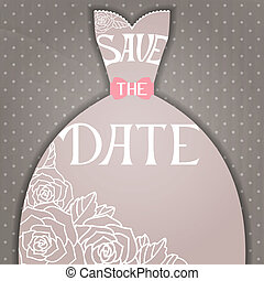 Wedding invitation with beautiful elegant wedding dress....