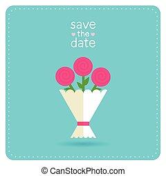 Wedding invitation with bouquet
