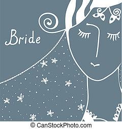 Wedding invitation with bride retro design