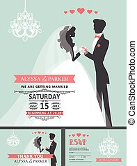 Wedding invitation with cartoon bride,groom,chandelier