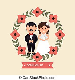 wedding invitation with couple and crown flowers design graphic
