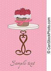 Wedding Invitation with Cupcake