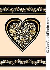 Wedding invitation with floral vintage golden pattern