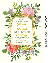 Wedding invitation with Flowers and Greenery - Floral...