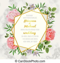 Wedding Invitation with Flowers and Greenery on Marble -...
